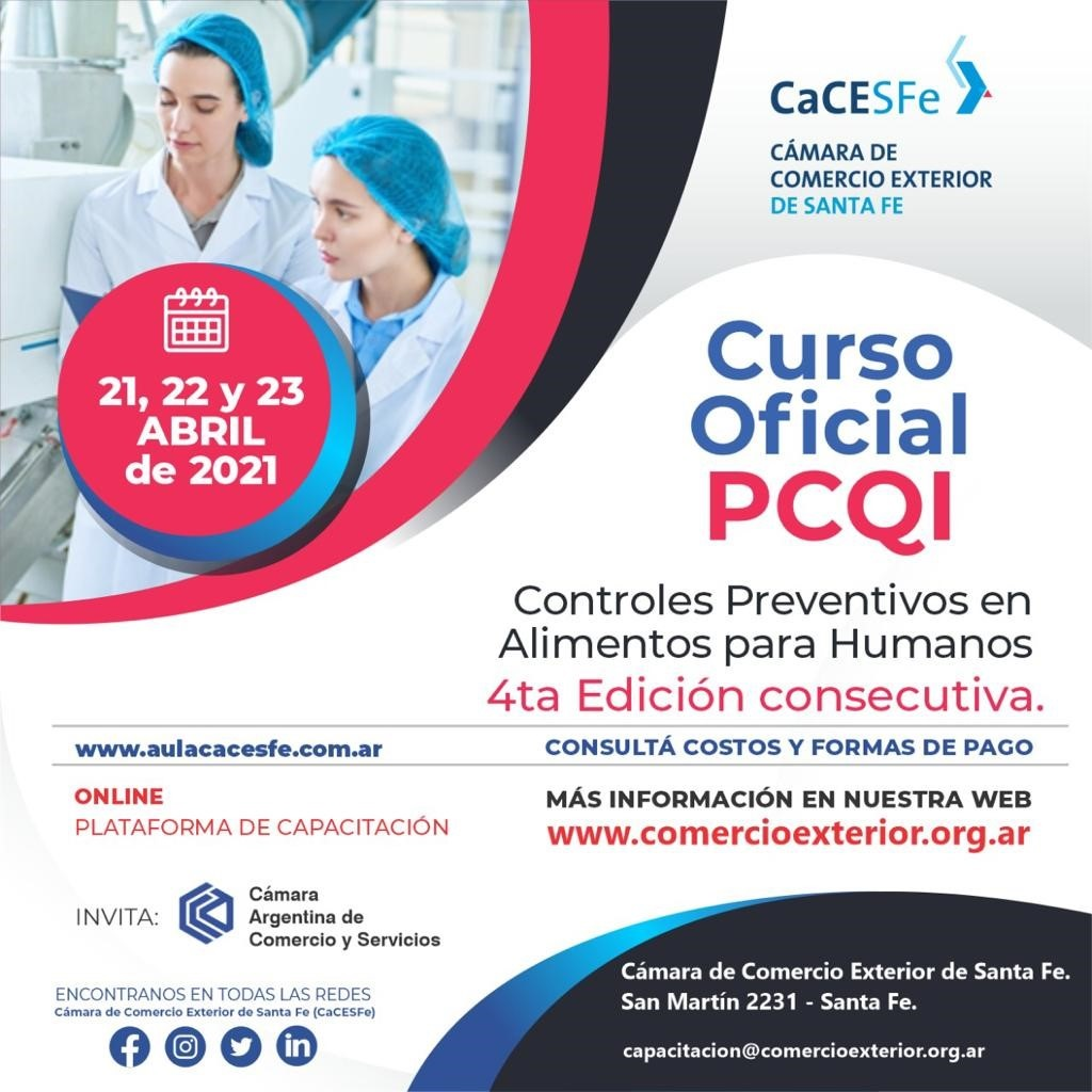 Curso Oficial PCQI - Abril 2021